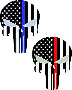 JumpyFire US Flag Skull Stickers, 5.9 x 4.3 inch American Flag Star Vinyl Car Decals with Thin Blue Red Line for Cars Trucks (A-Series)