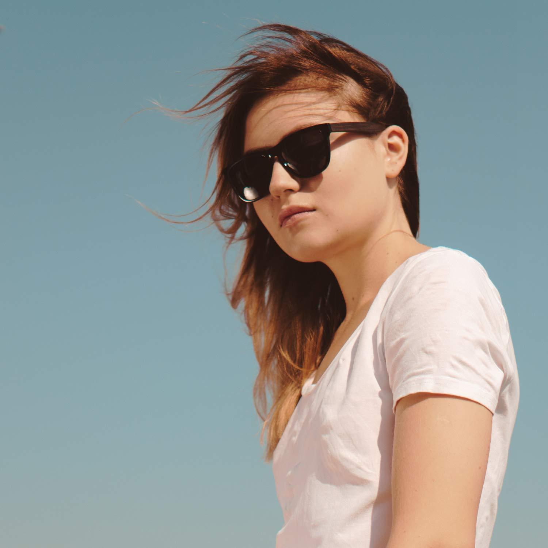 Ablibi Bamboo Wooden Wayfarer Sunglasses Polarized Driving Eyewear in Wood Box (Ebony, Grey)