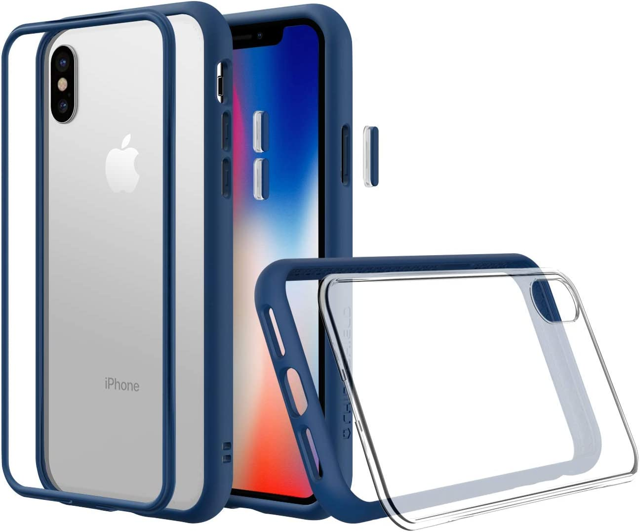 Amazon Com Rhinoshield Modular Case Compatible With Iphone Xs Mod Nx Customizable Shock Absorbent Heavy Duty Protective Cover Shockproof Royal Blue Bumper With Clear Back