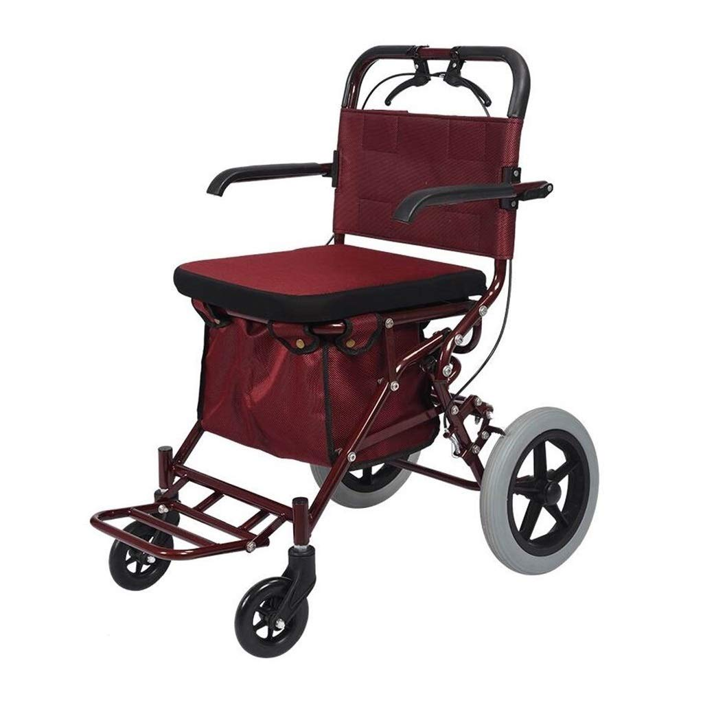 Walker Rollator with Seat and Foot Rest,Scooter Crutch Alternative in Seats and Shopping Baskets Auxiliary Walking Safety Walker