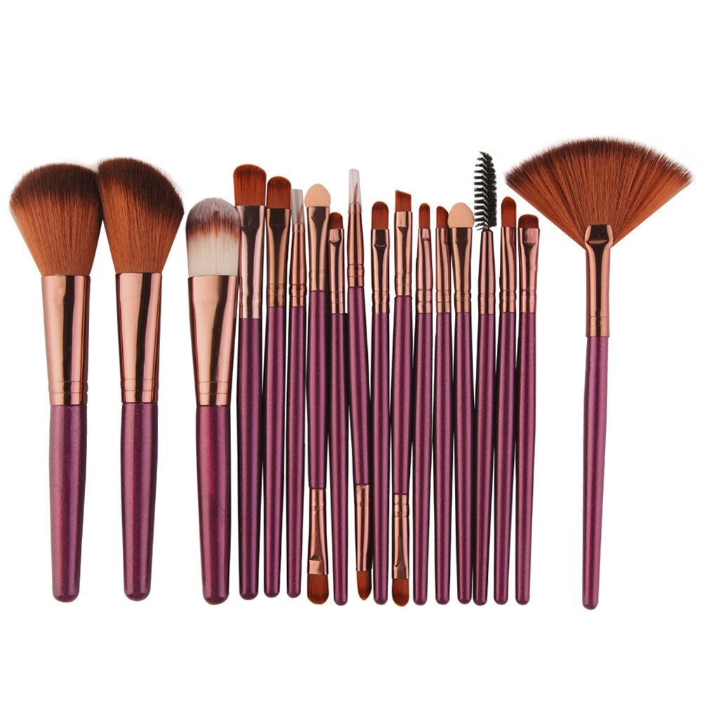 Make-up Pinsel Set, 18 Stück machen Up Pinsel Pulver Pinsel Lip Brush Make-up-Werkzeuge (Lila) EUZeo