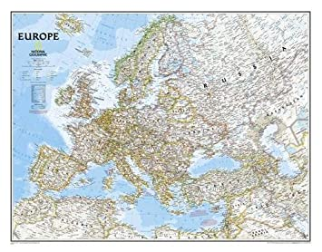 Europe Political Wall Map Enlarged Tubed National Geographic - National geographic political map