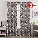 Cheap H.VERSAILTEX Zebra Curtains Pair Window Treatment Thermal Insulated Grommet Room Darkening Curtains Drapes for Bedroom(2 Panels, 52 by 96, Brown)