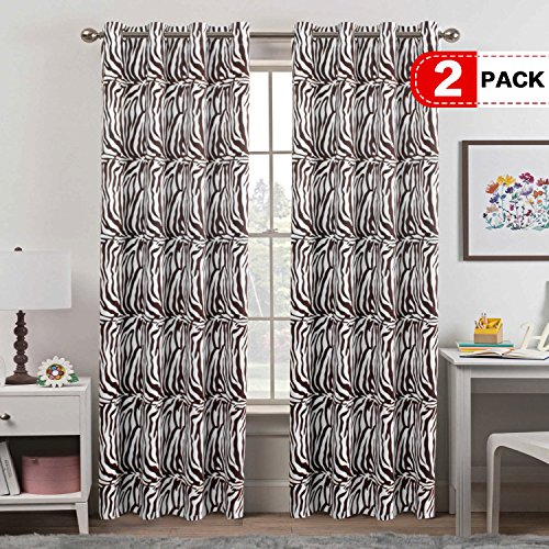 H.VERSAILTEX Bedroom Blackout Curtains Panels - Window Treatment Thermal Insulated Solid Grommet Blackout for Living Room (Set of 2 Panels, 52 by 84 Inch, Zebra Brown) ()