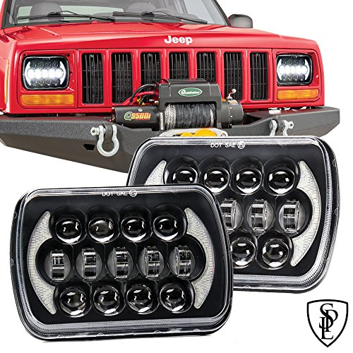 SPL 105W Brightest 5''x7''/7''x'6'' Projector Osram Led Headlights with DRL for Jeep Wrangler YJ Cherokee XJ H6054 H5054 H6054LL 69822 6052 6053 (Black Pair)