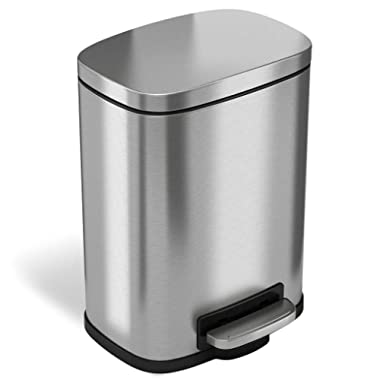 iTouchless SoftStep 1.32 Gallon Stainless Steel Step, 5 Liter Pedal Bathroom Bin, Removable Inner Bucket, Soft and Silent Open and Close Trash Can