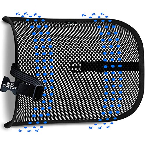 Mesh Lumbar Back Support Cushion - Breathable Fabric, Sturdy Frame, Non Slip Gripper Adjustable Straps Ergonomic Designed For Comfort And Lower Back Pain Relief - Suitable For Desk, Office Chair, Car