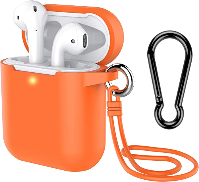 AirPods Case with Keychain, Coffea Silicone Protective Case with Stap for AirPods 2 & 1 [Front LED Visible] (Vibrant Orange)