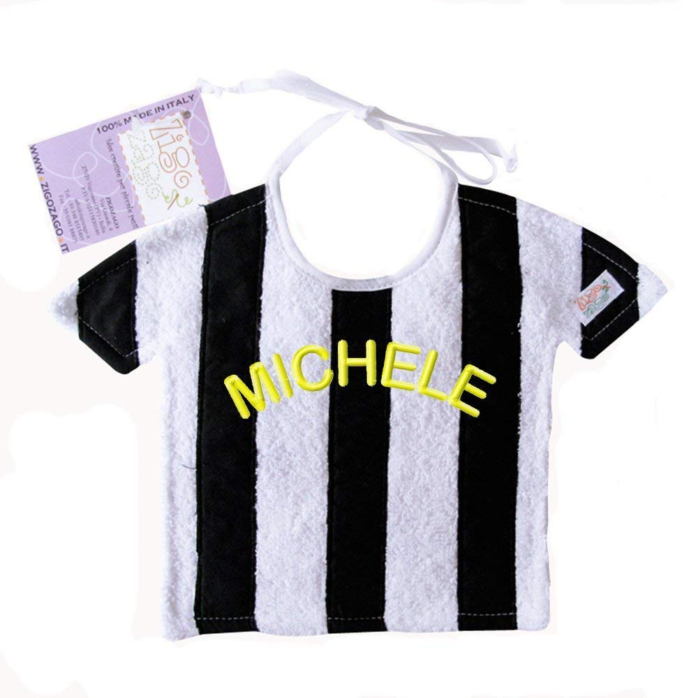 Zigozago - Bavaglino a righe bianco e nero in puro cotone - Colore: bianco nero - Taglia: Unica