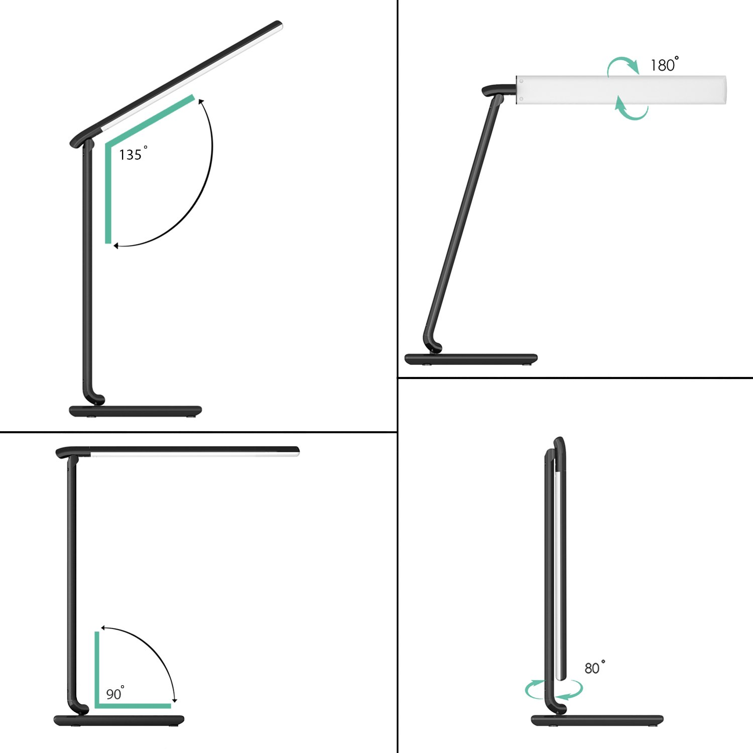 Aluminium Green LED Desk Lamp Light 800/LED Tisch with Touch Control of 5/levels 5/V//1/USB Port A 7/W 12.00 wattsW schwarz G9 Lied of Adjustable Brightness of the Color Temperature and Timer