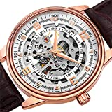akribosxxiv.com Automatic Skeleton Mechanical Men's Watch - 'Saturnos' Embossed Alligator Leather Pattern Strap - See Through Case with A Skeletonized Dial - Great for Father's Day - AK410