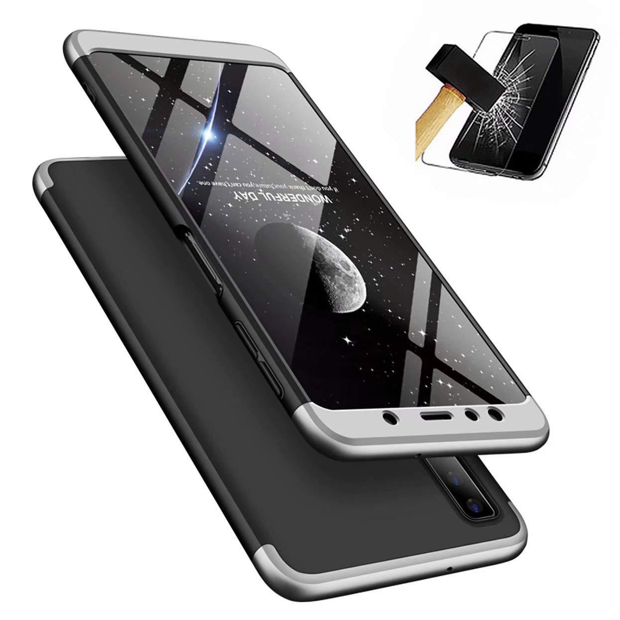 Coque Samsung Galaxy A7 2018 A750 + Verre Trempé , Lanpangzi É tui 360 degré s Hard PC Housse Protection Anti-Rayures Case Anti-Choc Cover avec Film Protection é cran Screen Protector, Argent et Noir