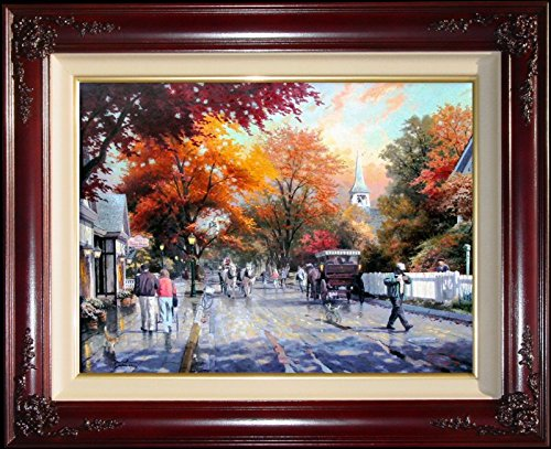 "Autumn on Mackinac Island Thomas Kinkade 18"" x 24"" Examination Proof Framed Limited Edition Canvas Painting Artwork"