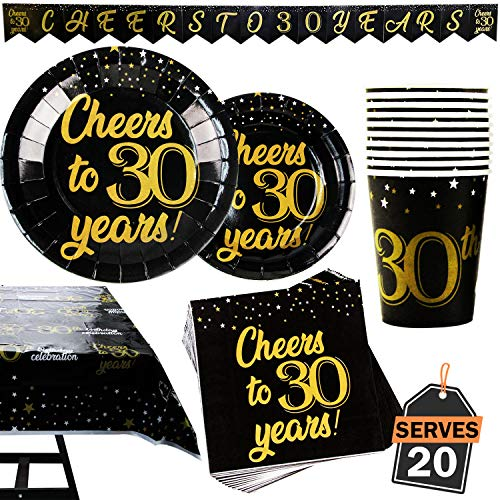Decorations For 30th Birthday Party (82 Piece 30th Birthday Party Supplies Set Including Plates, Cups, Napkins,Banner and Tablecloth, Serves)