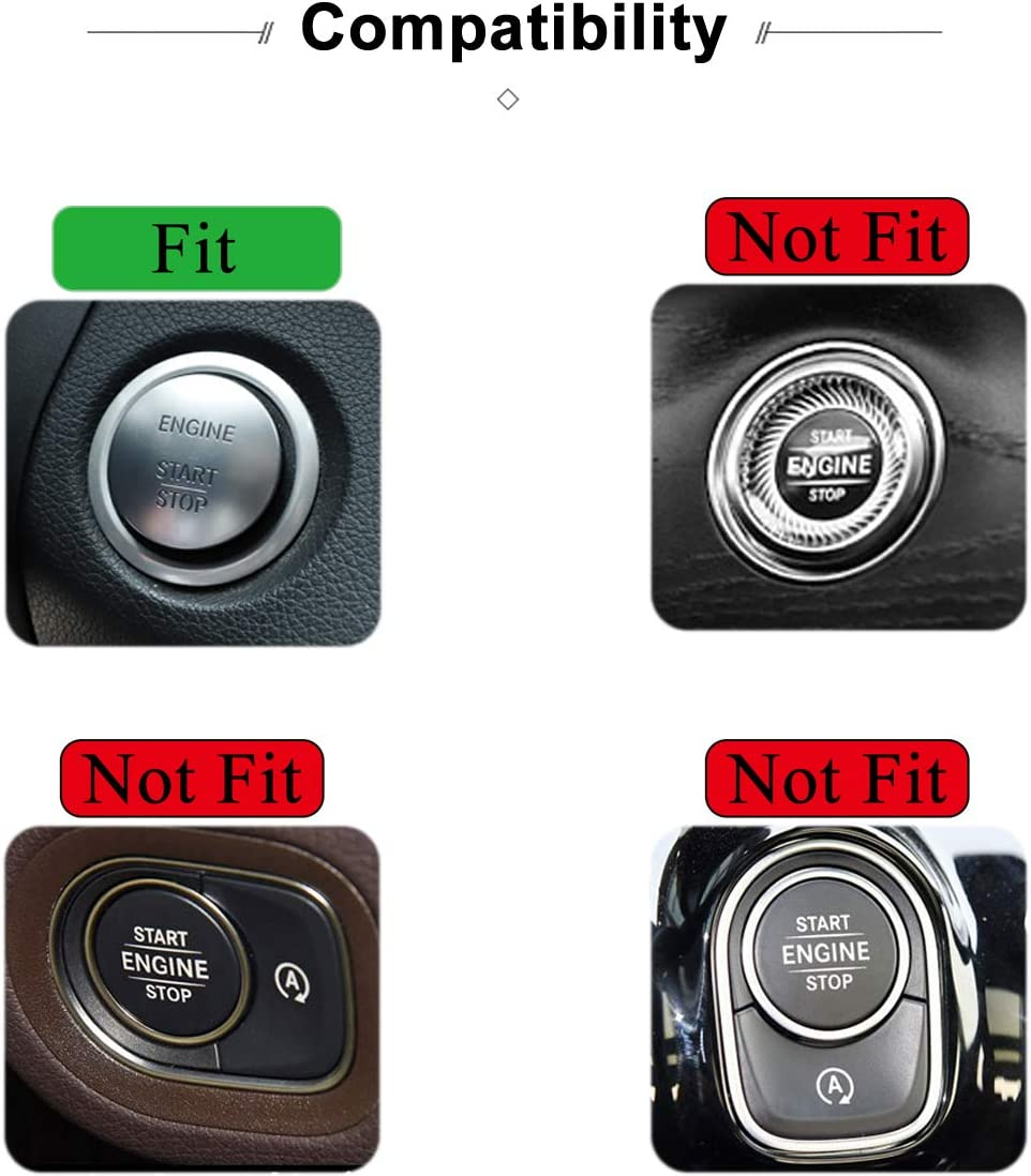 TopDall Crystal Bling Auto Start Engine Ignition Button Knob Ring Silver Sticker for Mercedes-Benz
