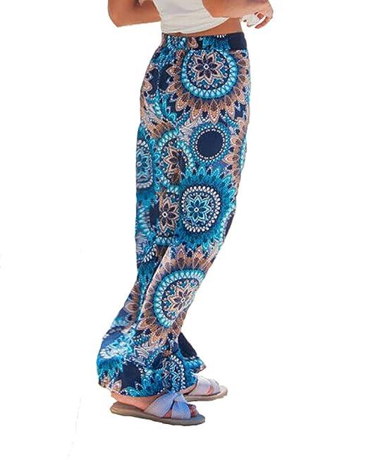 Verano Mujer Floral Flojo Boho Harem Pantalones Anchos de ...