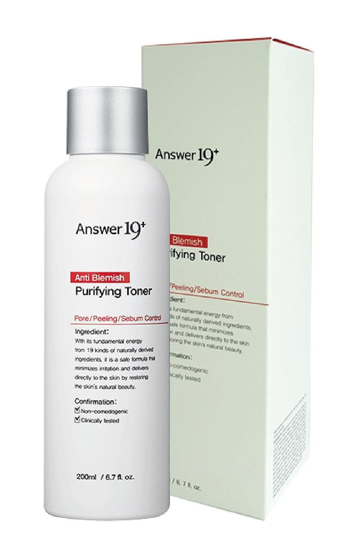 [ANSWER NINETEEN+] Anti Blemish Purifying Toner – Minimize Skin Irritation with Ecocert Certified Ingredients, Pore Care, Peeling, Sebum Control, Skin Brightening, Anti-Wrinkle, 200ml / 6.7 fl. Oz