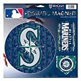"Seattle Mariners MLB Prismatic 3 Different Die Cut Magnets On Single 11"" x 11"" Sheet Magnet"