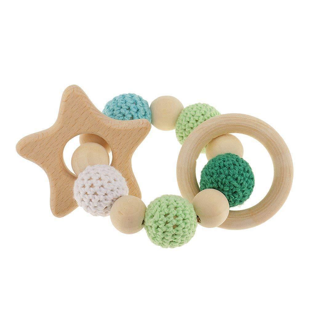 Toogoo 木製ティーシングリング かわいいおもちゃのガラガラ おもちゃの赤ちゃん用歯磨きアクセサリー1個 - マルチカラー - 星   B07GJ6ZW6Y