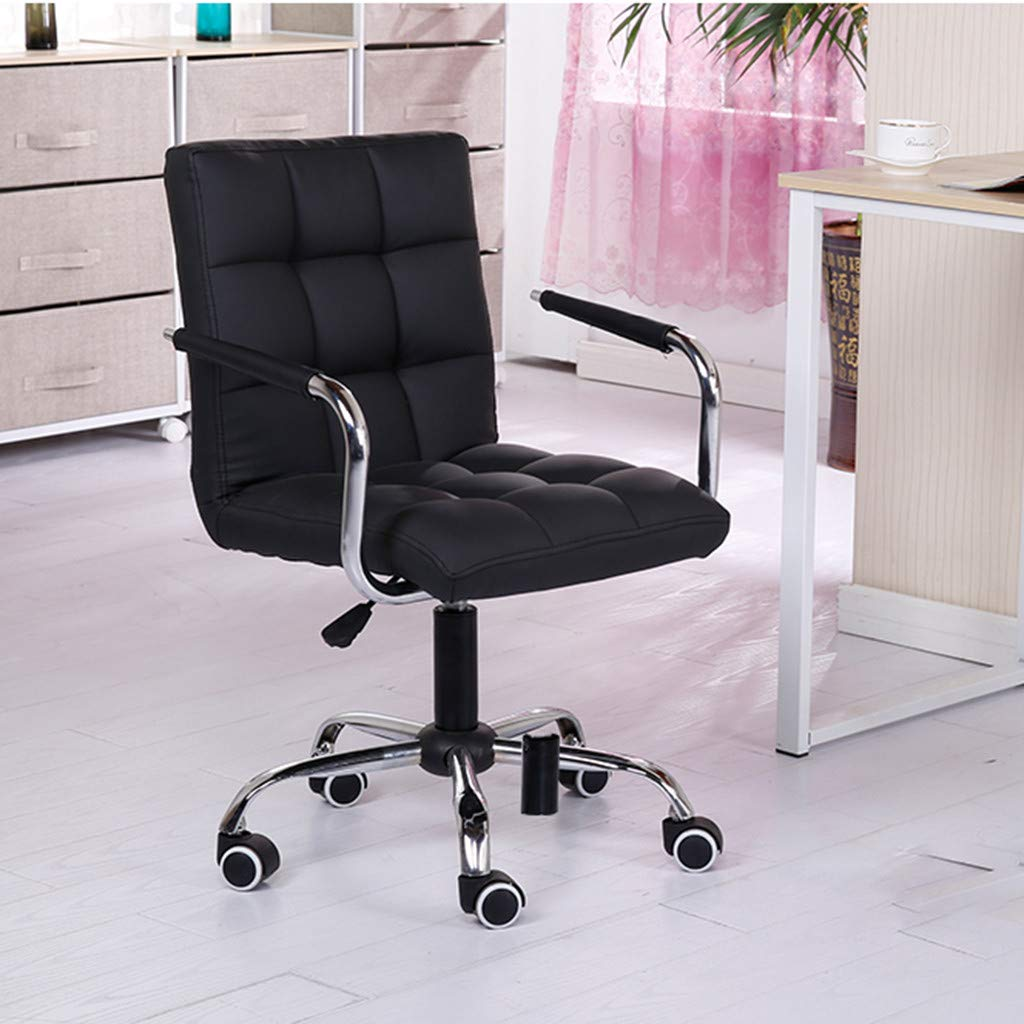 Heberry Fashion Casual Lift Chair Office Work Chair Beauty Salon Chair Black Leisure Swivel Chair