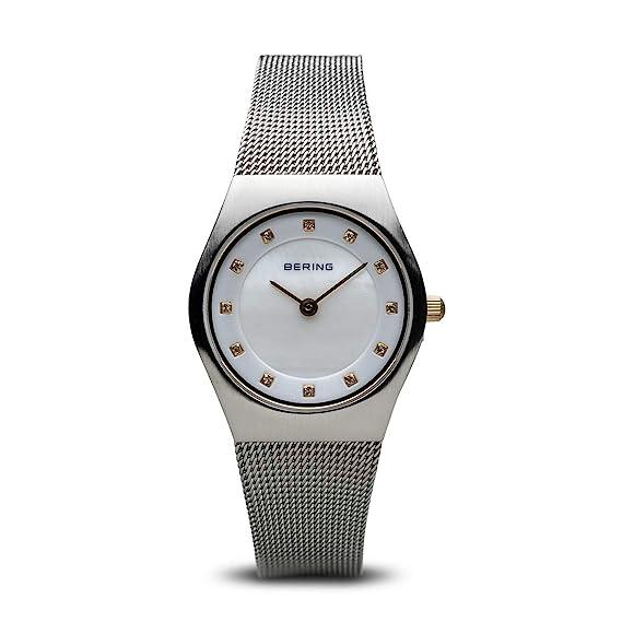 Bering Classic - Reloj analógico de mujer de cuarzo con correa de acero inoxidable plateada - sumergible a 50 metros: Amazon.es: Relojes