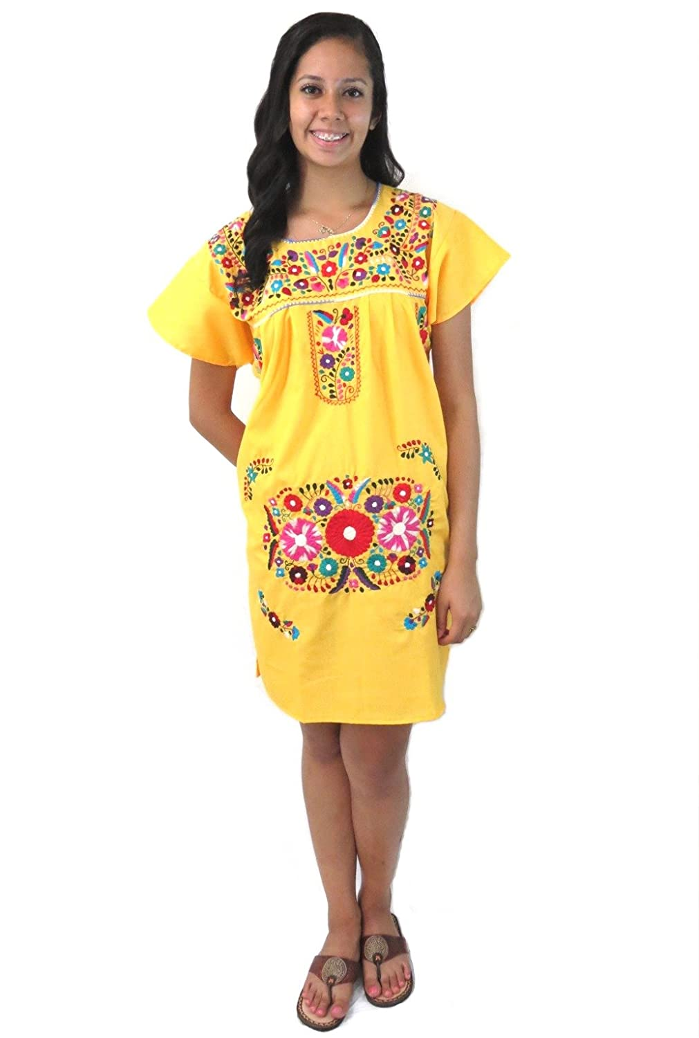 Embroidered Canary Yellow Mexican Puebla Tunic Dress - DeluxeAdultCostumes.com