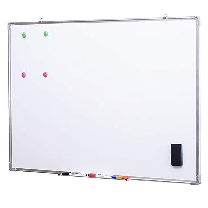Pizarra Magnética Blanca con 10 Imanes, 1 Borrador y 4 Rotuladores - Blanca - 110x80cm