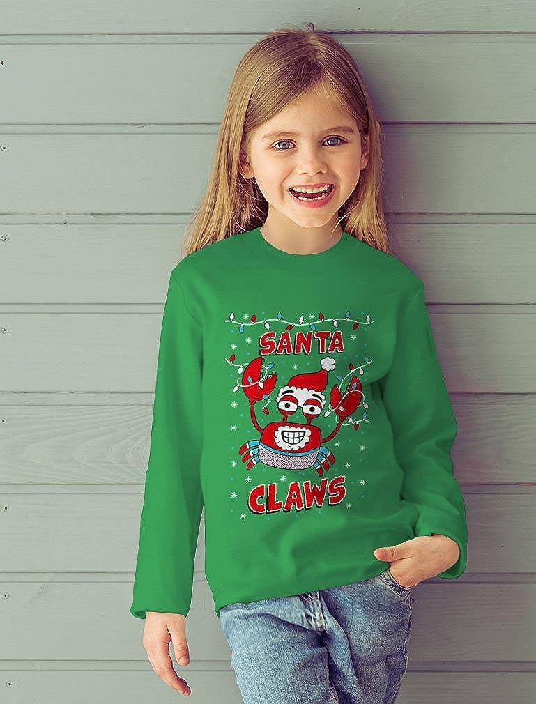 Santa Claws Crab Xmas Lobster Ugly Christmas Toddler//Kids Long Sleeve T-Shirt