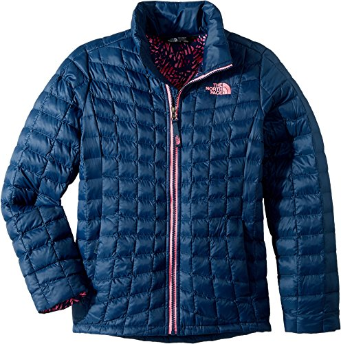 The North Face Kids Girl's Thermoball Full Zip (Little Kids/Big Kids) Blue Wing Teal Leaf Print/Gem Pink (Lining Full Length Top Coat)