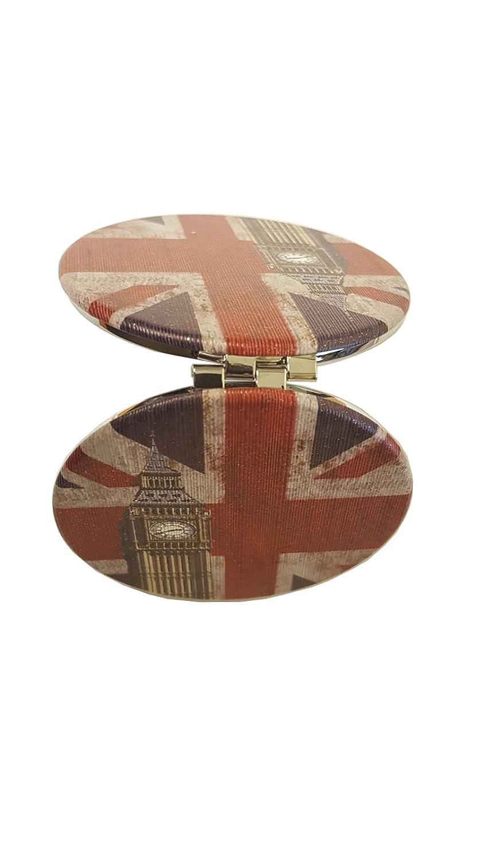 Union Jack Big Ben Miroir de poche–Compact/circulaire/souvenir de Londres/pliant/portable/Rond/vieilli/drapeau britannique/Union Flag/Mignon/vintage Look rétro/Idéal pour maquillage/voyage Lambert