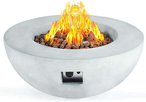 SIUSUMFO Outdoor Half-Sphere Bowl Propane Fire Pit, Gray Hardrock 42-inch 50,000 BTU Round Grey Concrete Firepit Table with Free Lava Rocks for Patio Barbecue Pool Fireplace