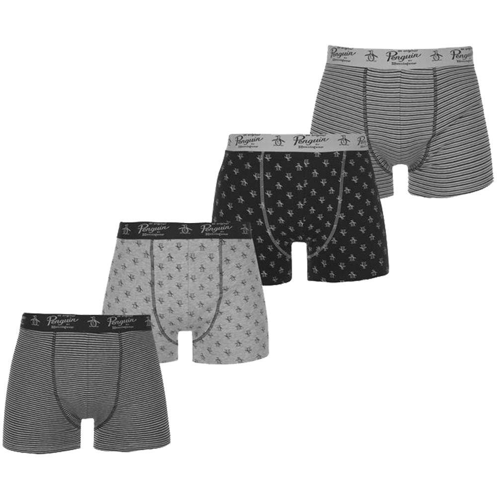 Penguin/ Mens Stretch Waistband Signature Logo Boxer Shorts 4 Pack