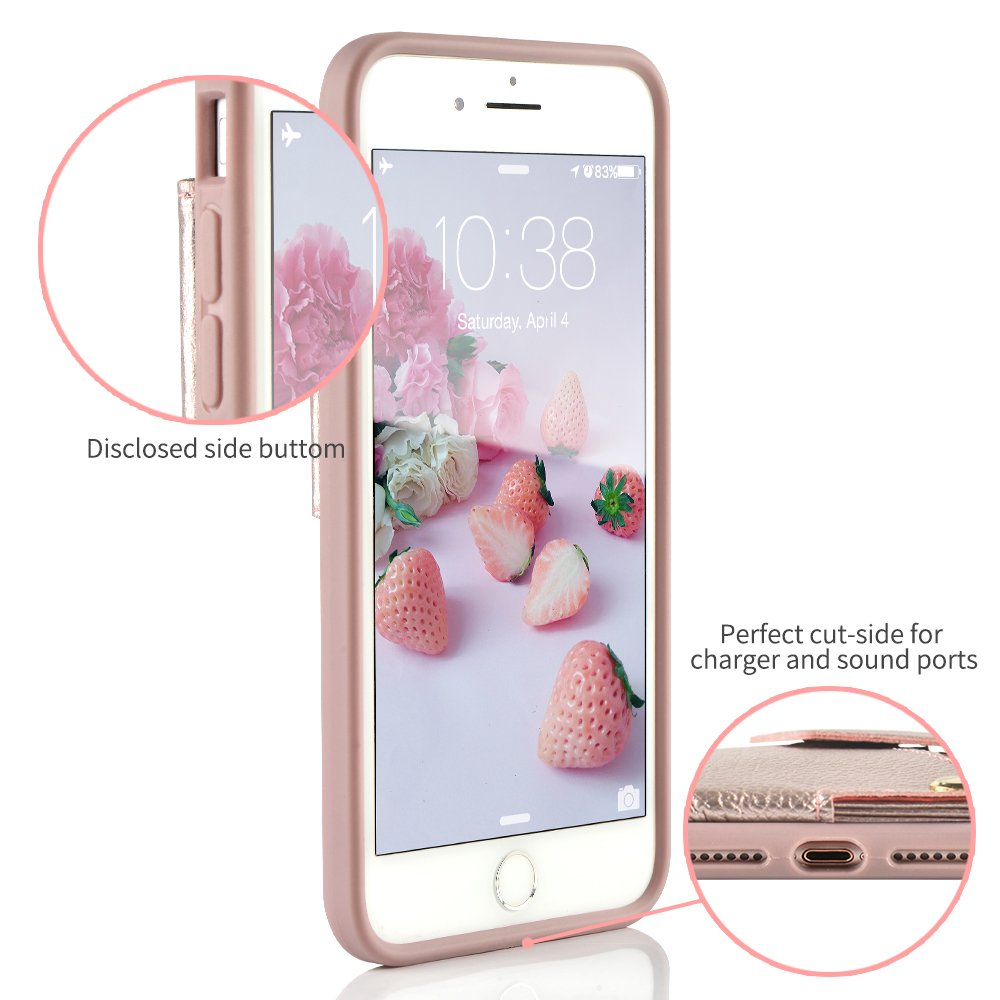 iPhone 8 Plus Wallet Case, ZVEdeng iPhone 7 Plus Card Holder Case, Protective Shockproof Leather Wallet Case with Card Holder for Apple iPhone 8 Plus (2017)/iPhone 7 Plus (2016) - Rose Gold … by ZVEdeng (Image #6)