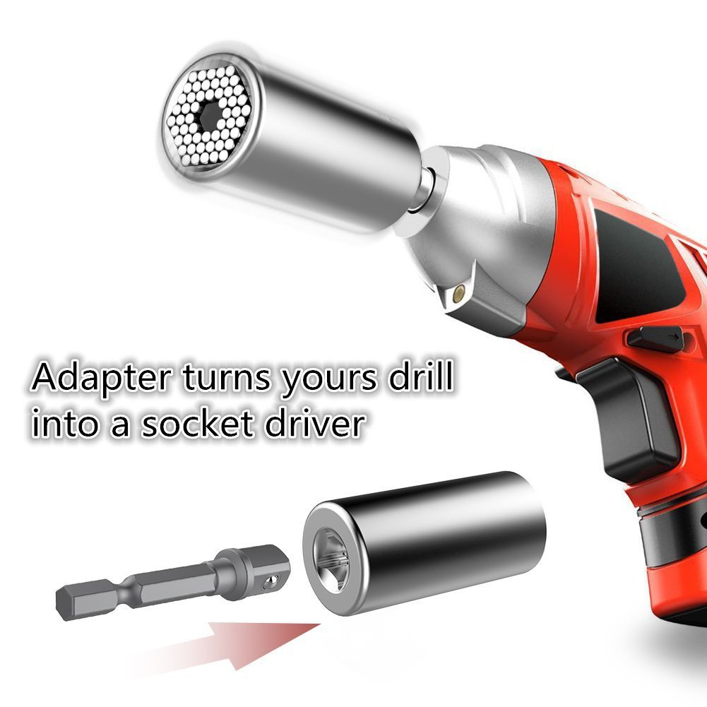 Multi-Function 7mm-19mm Universal Sockets Metric Wrench Power Drill Adapter Socket Professional Repair Tools and 105 Degree Right Angle Extension Power Screwdriver 1//4 Drive 6mm Hex Magnetic Drill