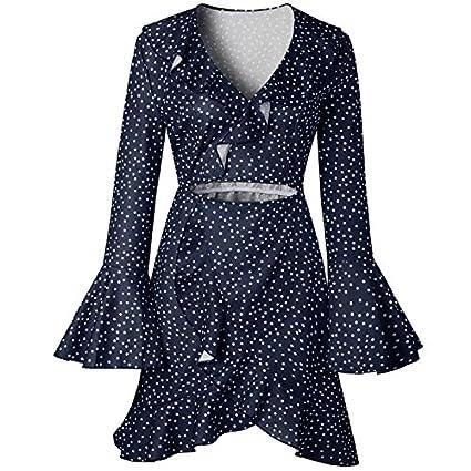 JAGENIE Vestido de Manga Larga para Mujer, Diseño de Lunares, Azul Marino, X