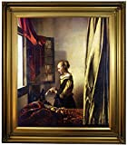 Historic Art Gallery Girl Reading a Letter At an Open Window by Johannes Vermeer Framed Canvas Print, 20'' x 24'', Gold Leaf