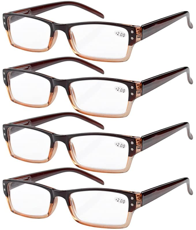 Eyekepper 4-pack Gafas sol de lectura rectangular con bisagras de resorte marron +3.00