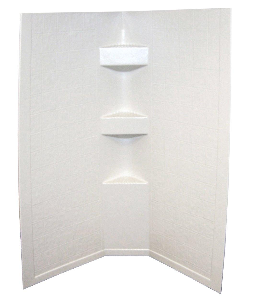 Lippert 306203 Better Bath 34'' x 34'' x 68'' Neo Angle RV Shower Surround Parchment Slate