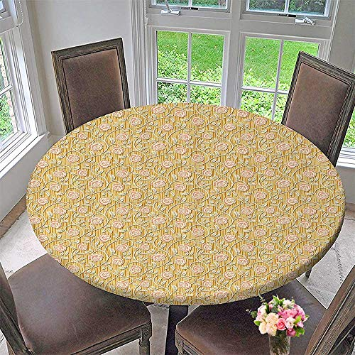 Mikihome Chateau Easy-Care Cloth Tablecloth Romantic Rose Petals with Branches Nature auty Valentine Feminine 43.5