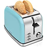 2-Slice-Toasters Bread Stainless Steel Compact Toaster Extra-Wide-slots for Household Kitchen Breakfast Bagle Defrost Cancel