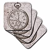 3dRose Vintage Stop Watch Steampunk Art - Ceramic Tile Coasters, Set of 4 (CST_110249_3)