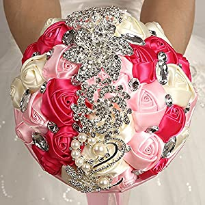 FYSTORE Bride Bridal Bouquet Brooch Bouquet Bridesmaid Holding Wedding Flowers 18CM 84
