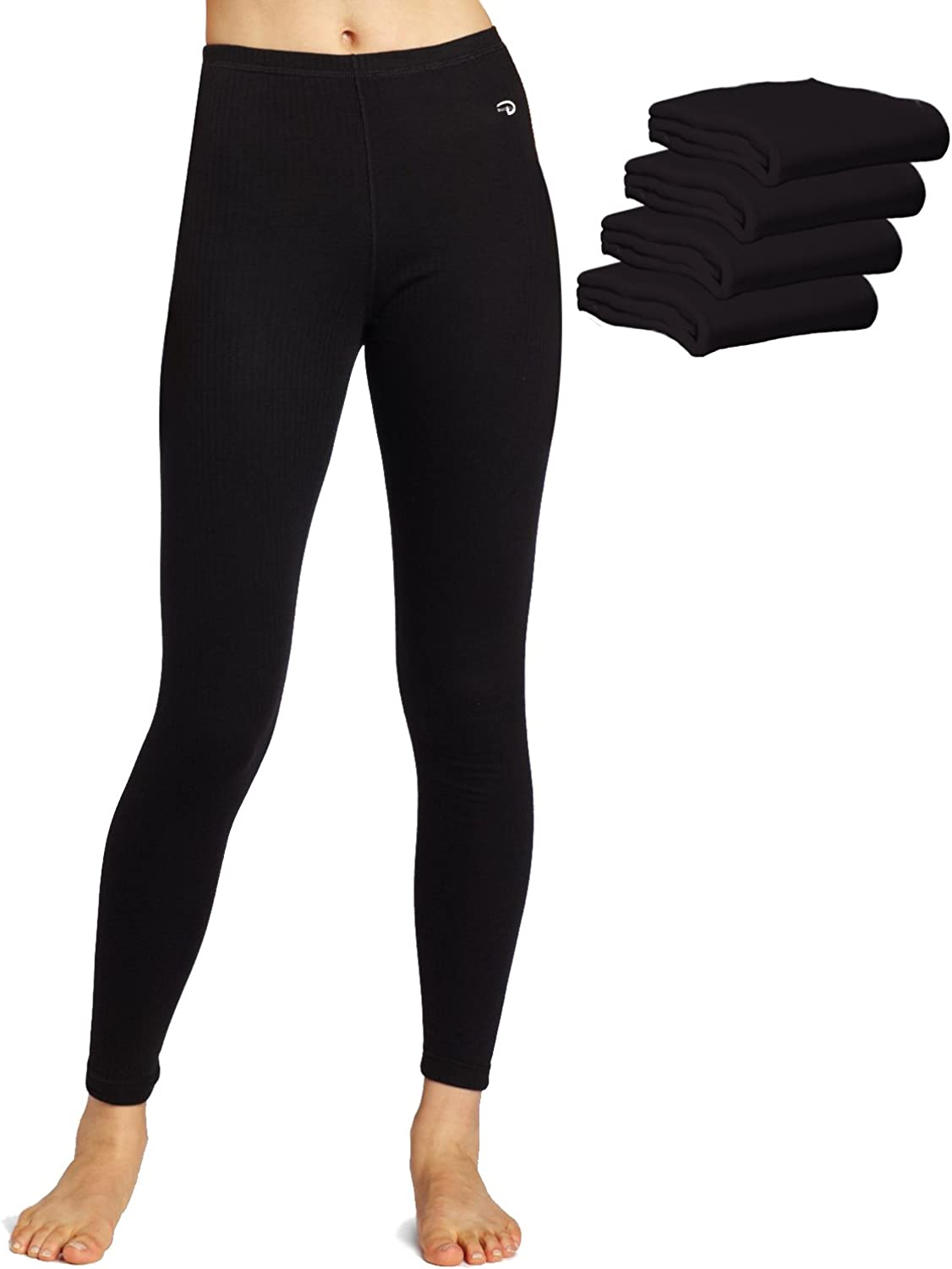 Duofold KMW4 60/% Cotton 40/% Polyester Womens Mid Weight Wicking Thermal Leggings Black-5 Pack