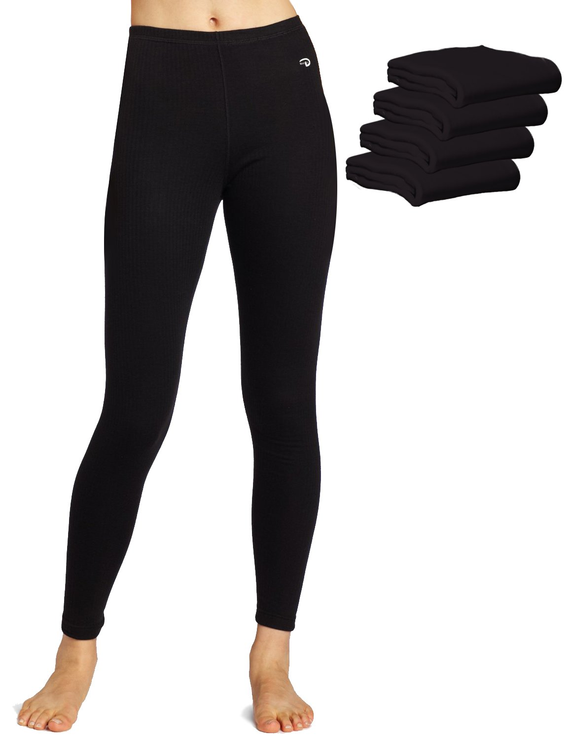 Duofold KMW4 60% Cotton 40% Polyester Women's Mid Weight Wicking Thermal Leggings Large Black - 5 Pack