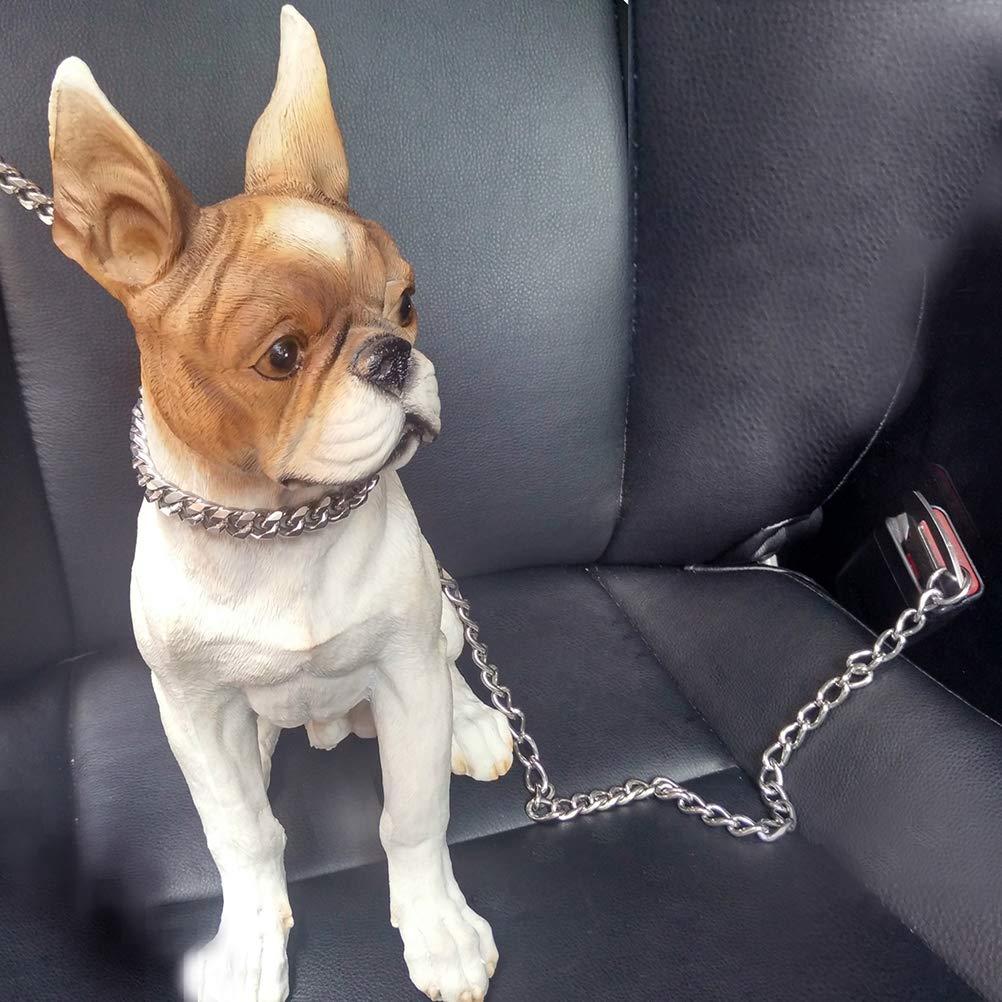 POPETPOP Cintur/ón Seguridad de Cadena de Acero Inoxidable de Coche para Perros Cachorro 60cm