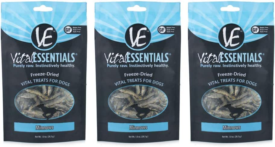 Vital Essentials Freeze-Dried Minnows Treats for Dogs Wild Caught USA Sourced & Made Omega 3 for Healthy Skin & Coat Supports Joint Health Weight Control Perfect for Training 3 Pack - 1 oz Each Pouch