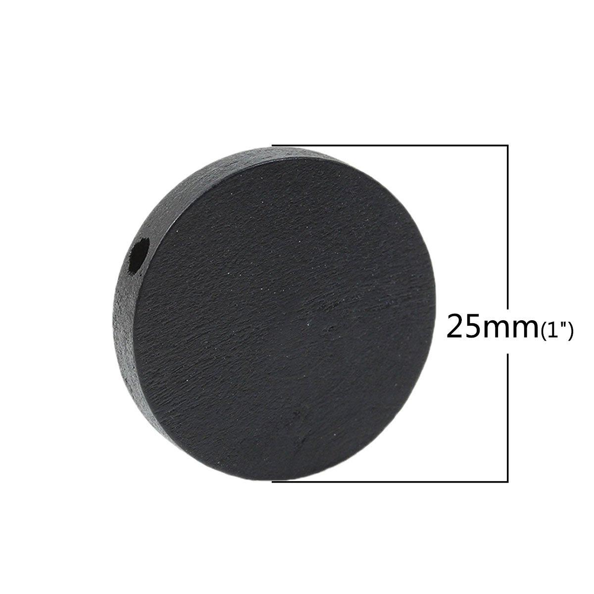 50 Pezzi Perline di Legno da 25 mm con Foro da 2,3 mm Colore: Nero SiAura