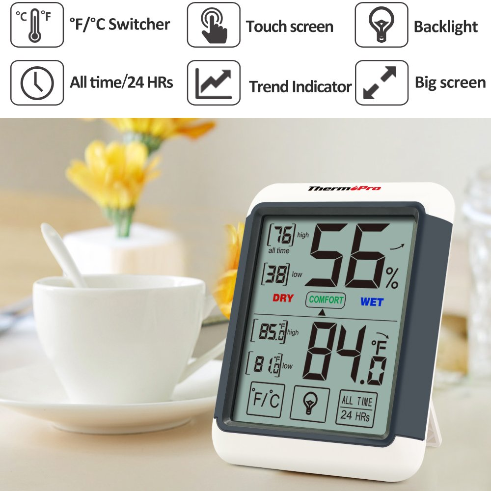 ThermoPro TP55 Digital Hygrometer Indoor Thermometer Humidity Gauge with Jumbo Touchscreen and Backlight Temperature Humidity Monitor by ThermoPro (Image #4)