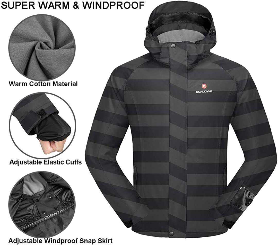 qualidyne Mens Ski Jacket 3 in 1 Windproof Waterproof Winter Jacket Detachable Hooded Windbreaker with Inner Warm Fleece Coat for Hiking Snowboard
