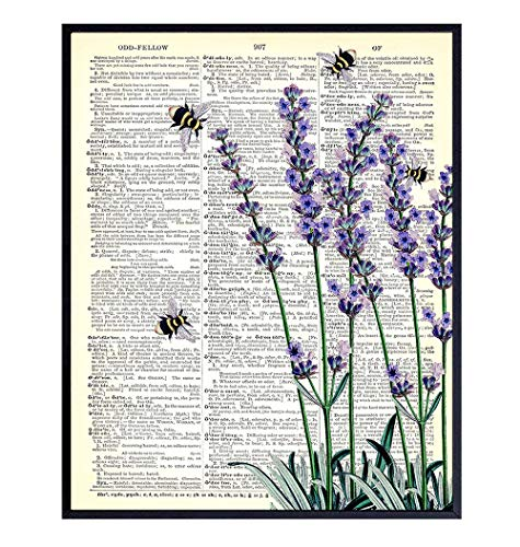 Floral Upcycled Dictionary Wall Art Print - 8X10 Vintage Unframed Photo - Perfect Easy Gift and Great for Home Decor